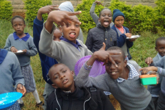 Kids goofing around at lunch time